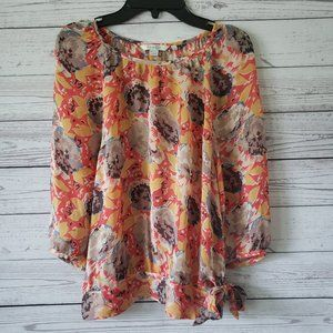 Boden Coral Floral Sheer Blouse Size 6